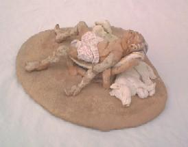 Handbuilt Clay Self- (and dog) portrait