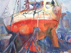 Watercolor Sailboat on Jacks