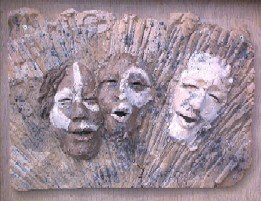 Abram, Sarai, and God: Hand Built Clay Plaque