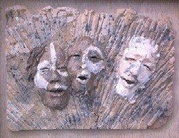 Abram, Sarai, and God: Hand Built Clay Plaque